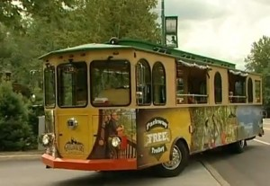 The free trolley in downtown Gatlinburg, TN, running up and down Parkway
