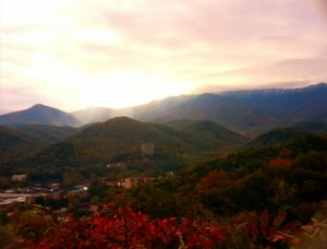 current view of Gatlinburg, frost on the mountains, colors coming to town - image courtesy Paul Poteet