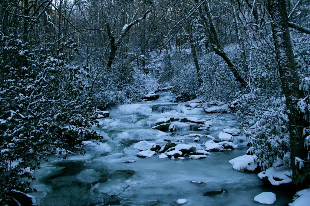 Creek in the Smoky Mountains - water and ice together