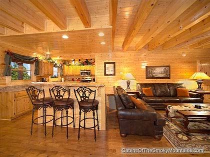 One bedroom cabins in gatlinburg pigeon forge tn for Lodge plans with 12 bedrooms