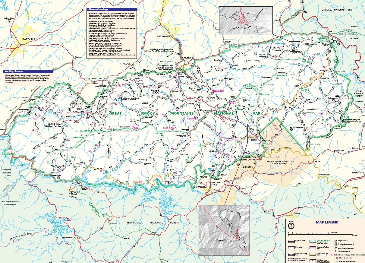 Great Smoky Mountains Map Hiking in Great Smoky Mountains National Park